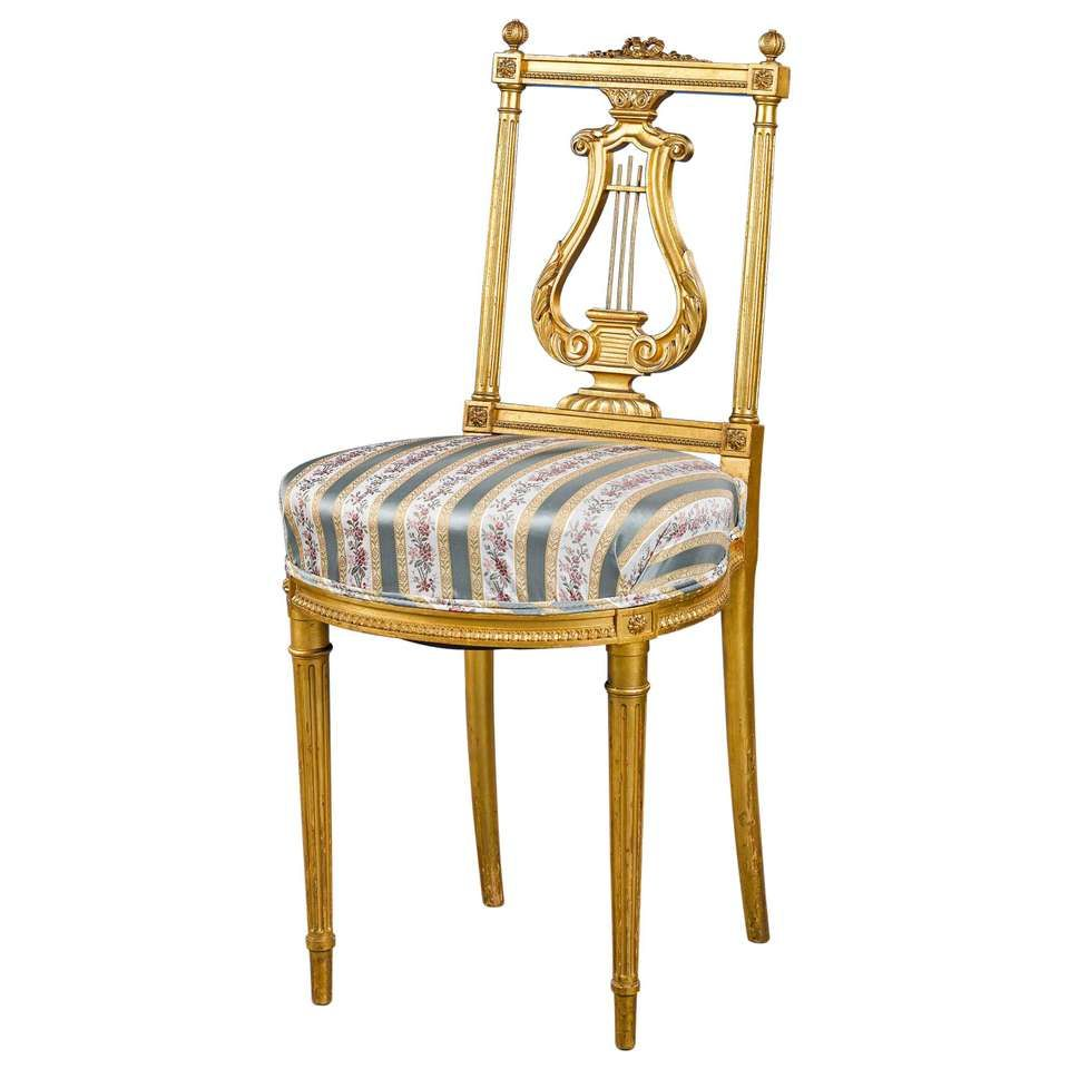 Old Fashioned Furniture For Sale: This Beautiful 19th Century Gilded Louis XVI Style Chair