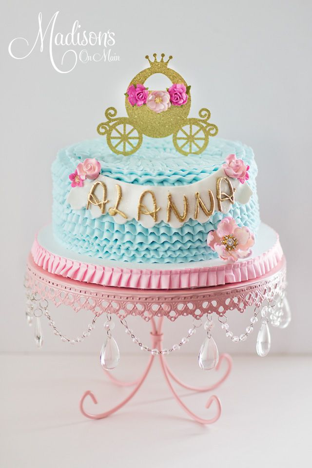 Peachy Cinderella Theme In Buttercream With Images Cinderella Personalised Birthday Cards Petedlily Jamesorg
