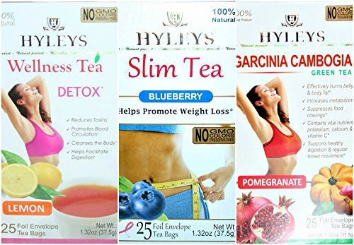Hyleys 100 Natural Tea Lemon Detox Slim Tea Blueberry And Garcinia