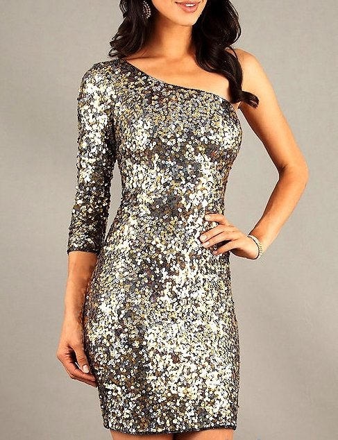 Shop Kami Shade' - Gunmetal Gold/Silver One 3/4 Sleeve Sequin Party Dress, $164.00 (http://www.kamishade.com/haute-sequin-designer-dresses/gunmetal-gold-silver-one-3-4-sleeve-sequin-party-dress/)