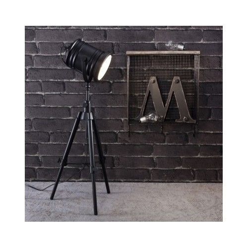 2 retro floor spotlight lamp black tripod antique industrial studio film theatre