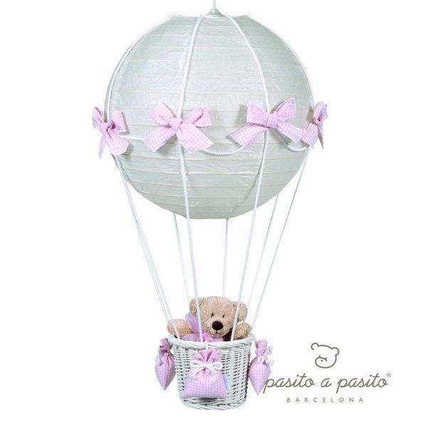 lampara globo oso cuadritos vichy rosa para techo x cm pasito a pasito