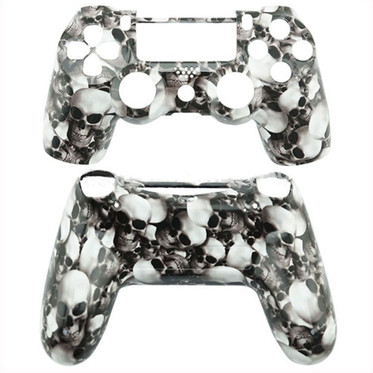 Replacement Surface Full Housing Shell for Sony PS4 Controller Playstation (white skull shell)