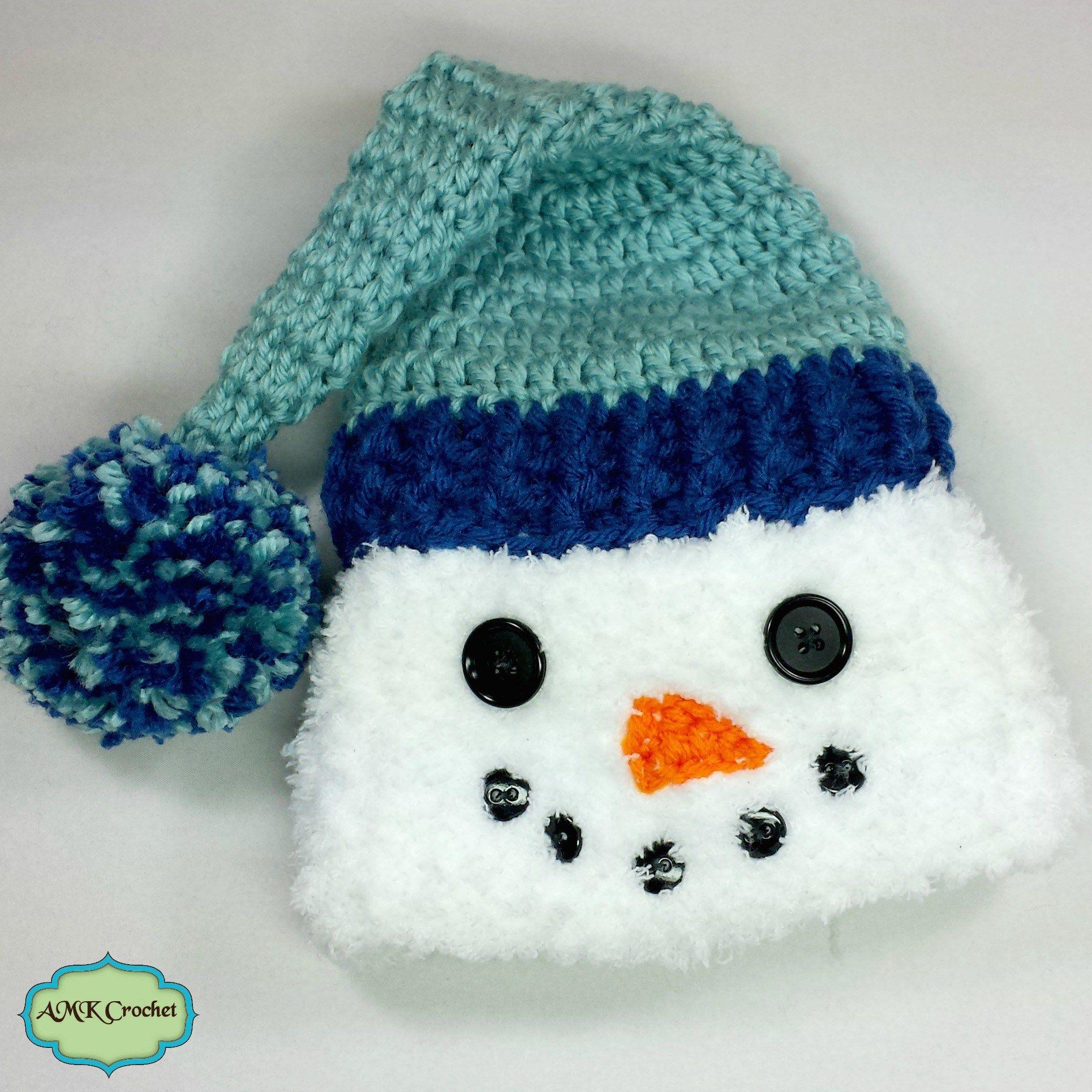 Crochet Newborn Snowman Hat Pattern by AMKCrochet.com | Crochet ...