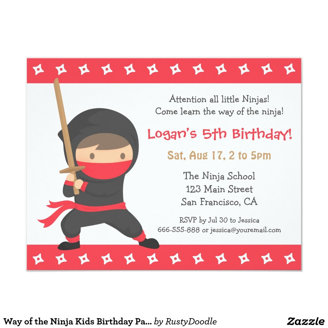 Way of the Ninja Kids Birthday Party Invitations | Kids birthday ...
