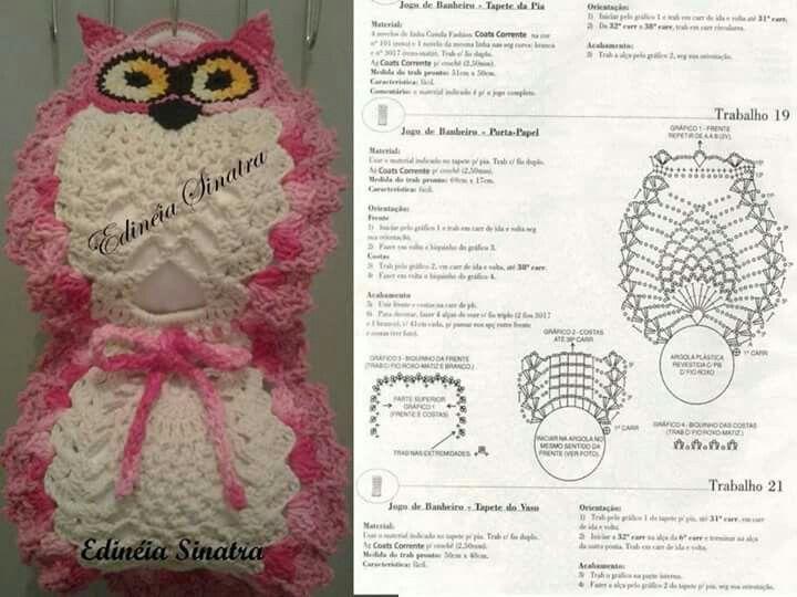 Porta papel higienico coruja | ana | Pinterest | Crochet, Owl and ...