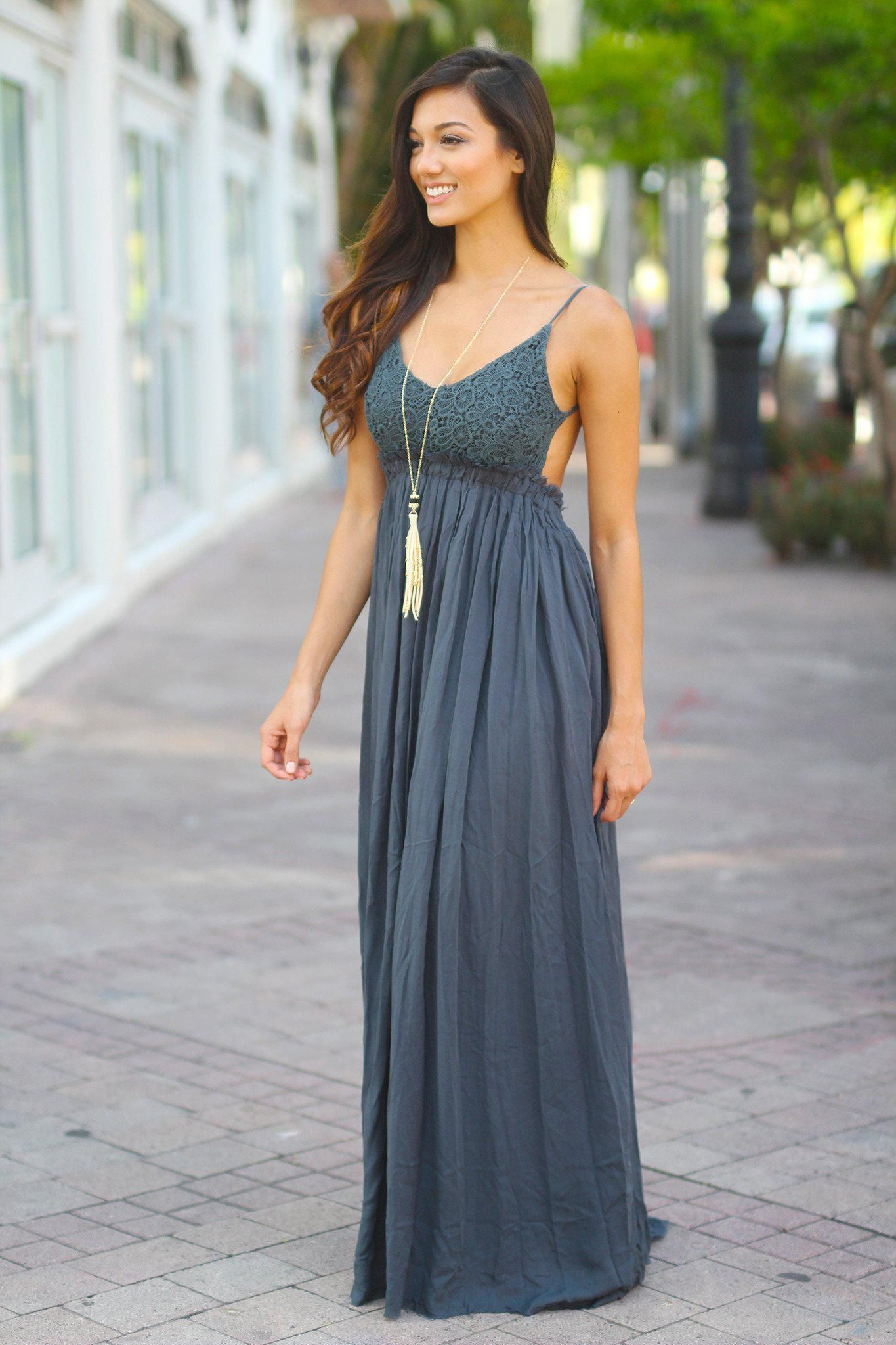 Midnight navy lace maxi dress with open back and frayed hem in