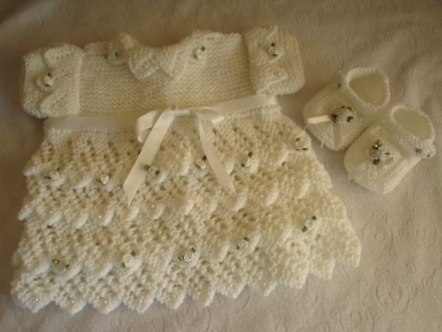 BABY OR REBORN LAYERS OF LACE DRESS KNITTING PATTERN