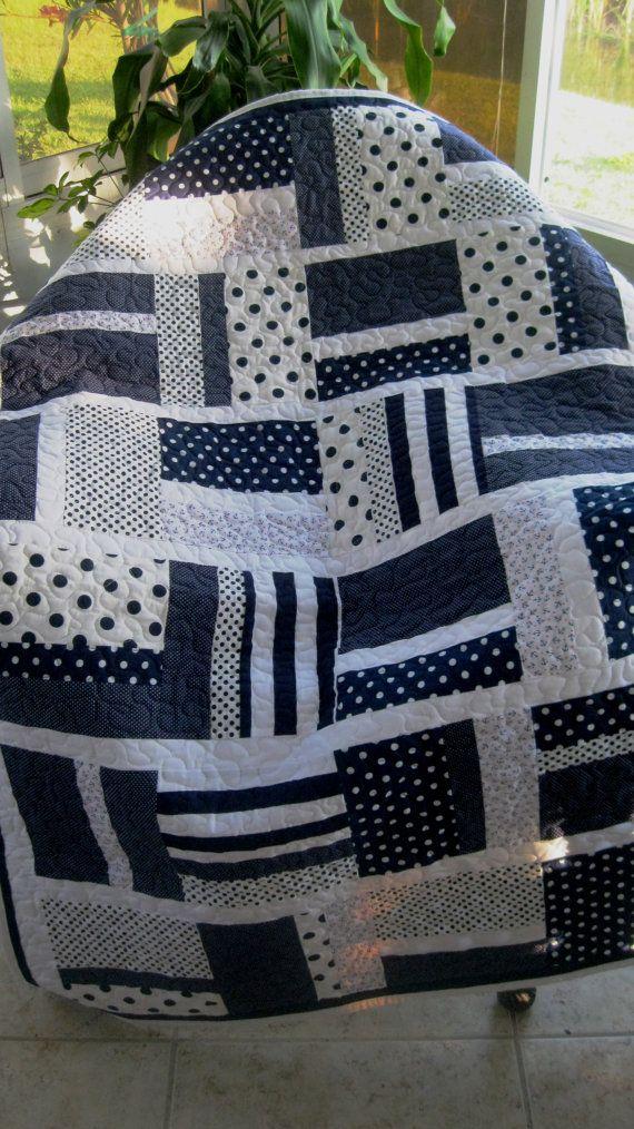 Baby Nursery Crib Quilt Boy Navy Blue White Modern Ready