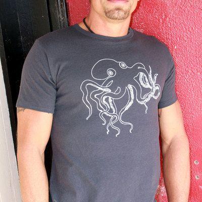 Mens tshirt kraken octopus organic cotton blue gray by Revival Ink