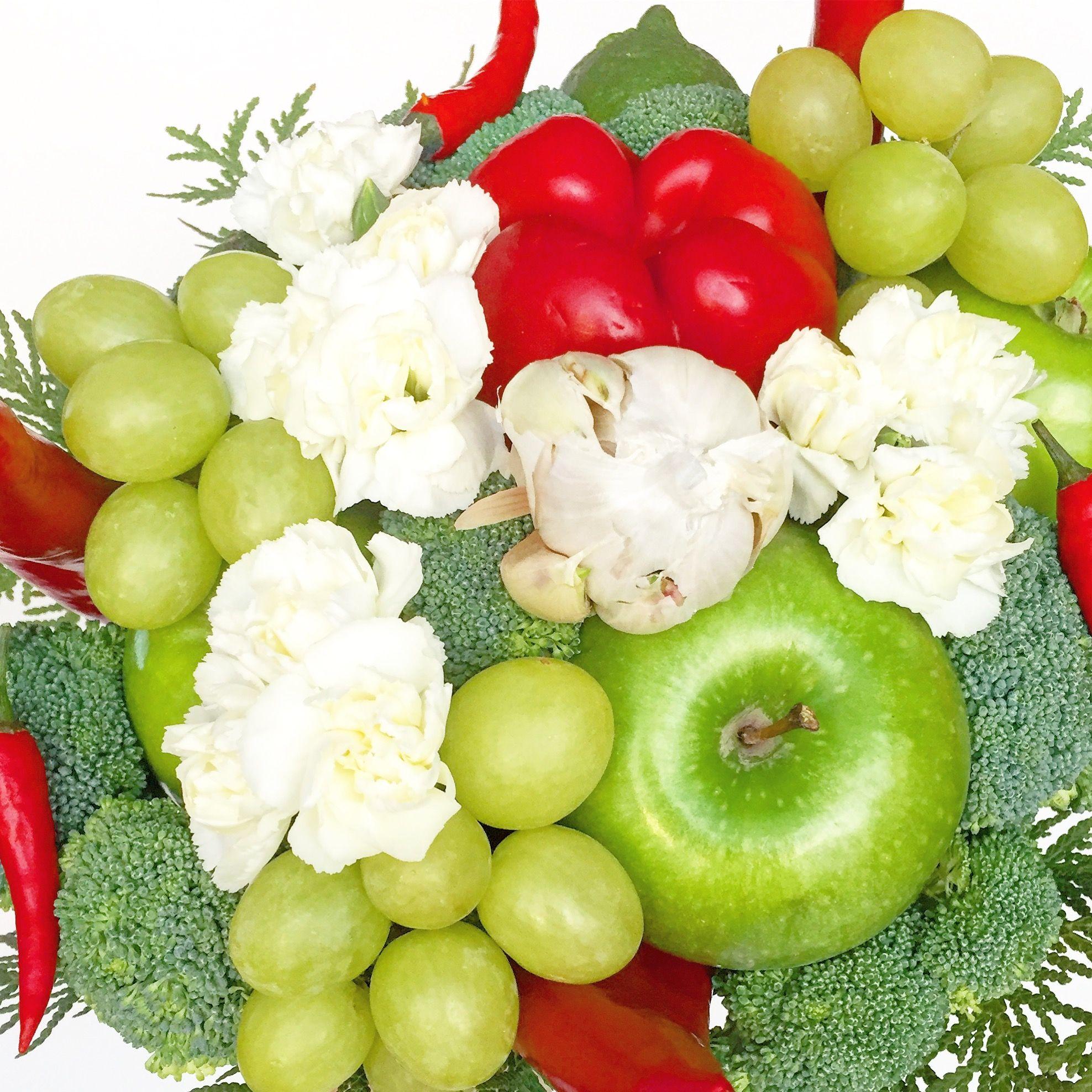 Fresh Fruits Fresh Vegetables Fresh White Flowers Bouquet Idea