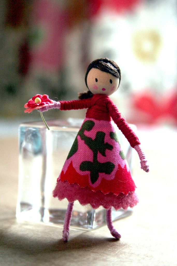 tiny doll - wooden bead, wire, embroidery floss, fabric, paint ...