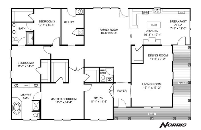 Norris C Series Home Plan 27nsc45723a Mobile Home Floor Plans Modular Home Plans Clayton Homes