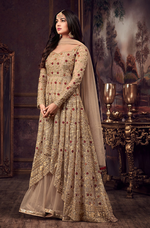 ff74870121 Beige & Gold Designer Heavy Embroidered Net Wedding Anarkali Suit – Saira's  Boutique