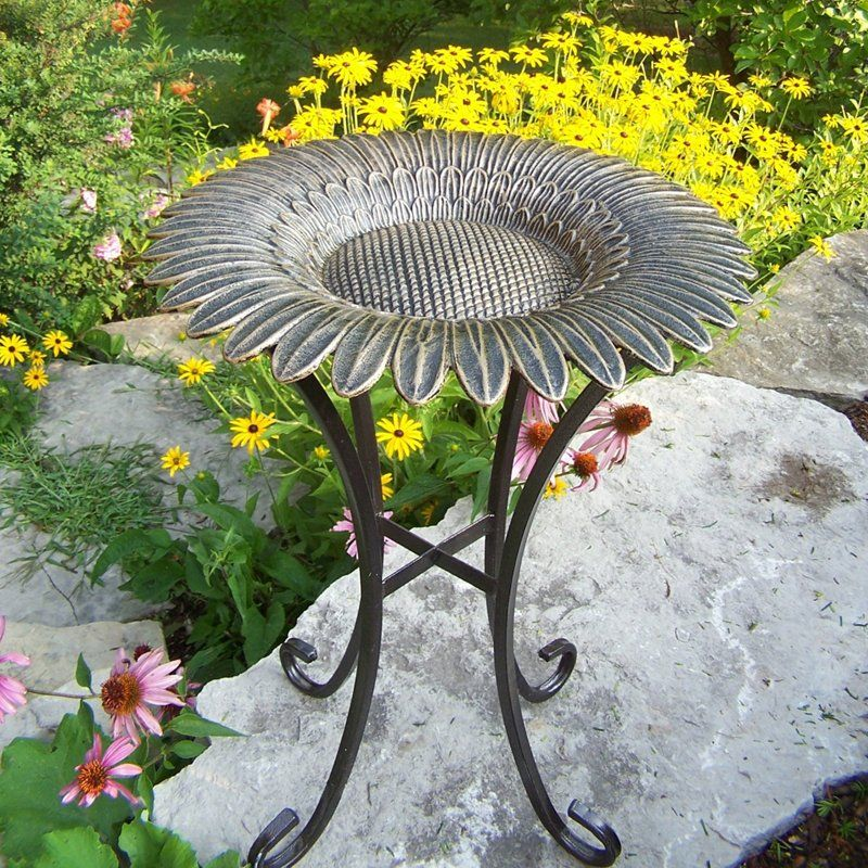 Have to have it. Oakland Living Sunflower Bird Bath on Tower Base - $82.98 @hayneedle.com