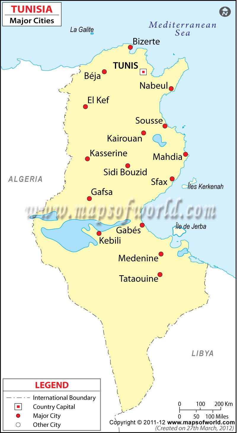 Tunisia Cities Map | Far away lands 4 | Tunisia map, Map, City maps