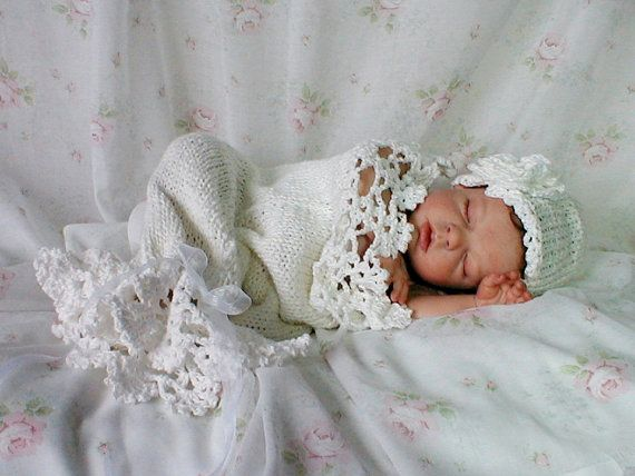 Snow Baby Cocoon / Snuggle Sack and Hat Newborn Winter in White ...