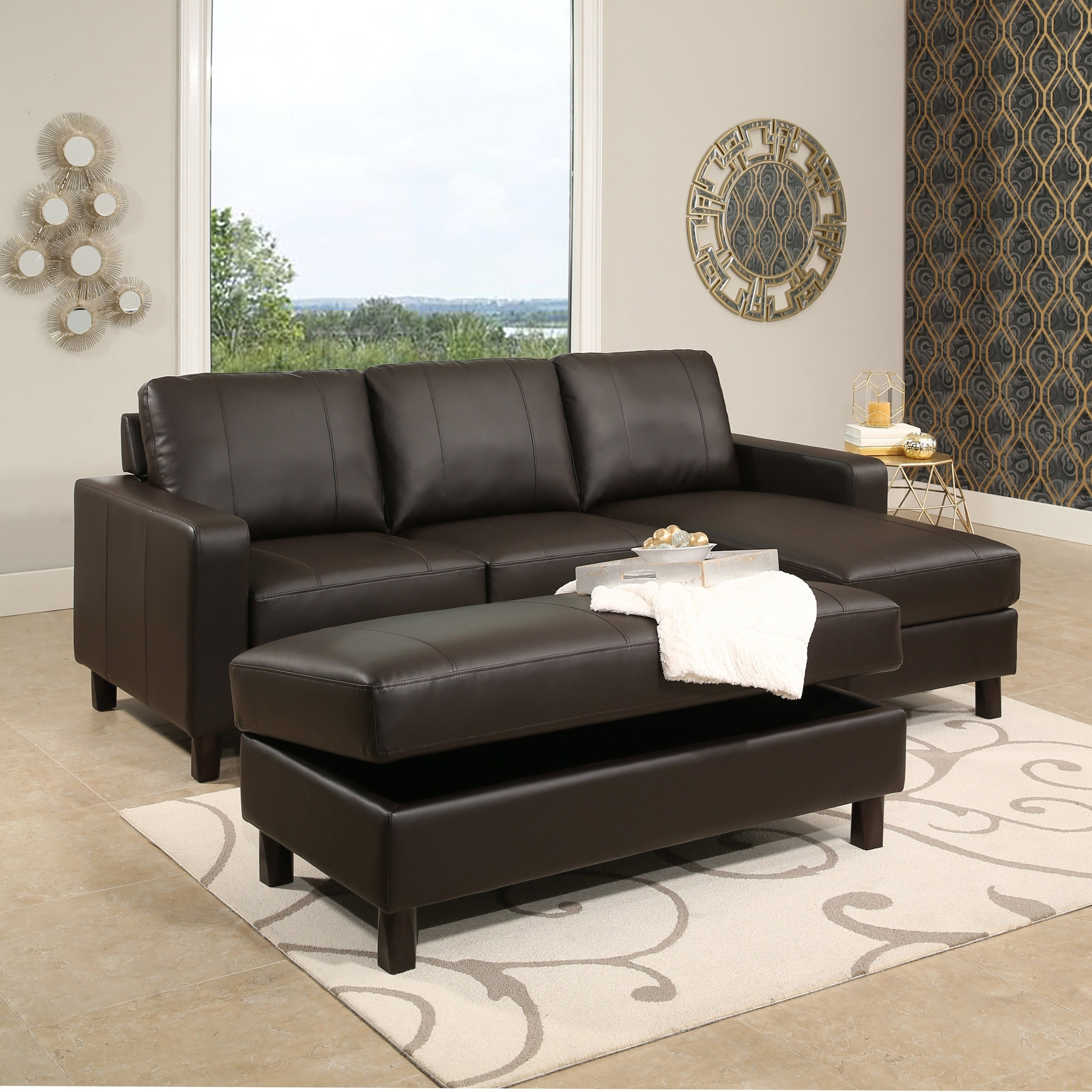 Groovy Abbyson Hampton Brown Leather Reversible Sectional And Ncnpc Chair Design For Home Ncnpcorg