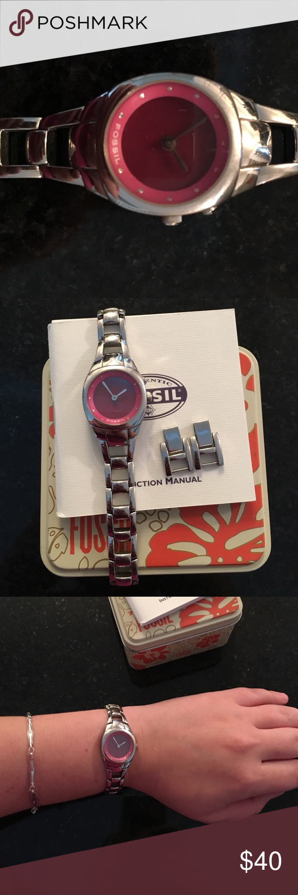 Fossil Watch Silver with pink face Fossil watch. Needs batteries. Original box and extra links included. Few signs of wear on glass, but overall in great condition. Fossil Accessories Watches