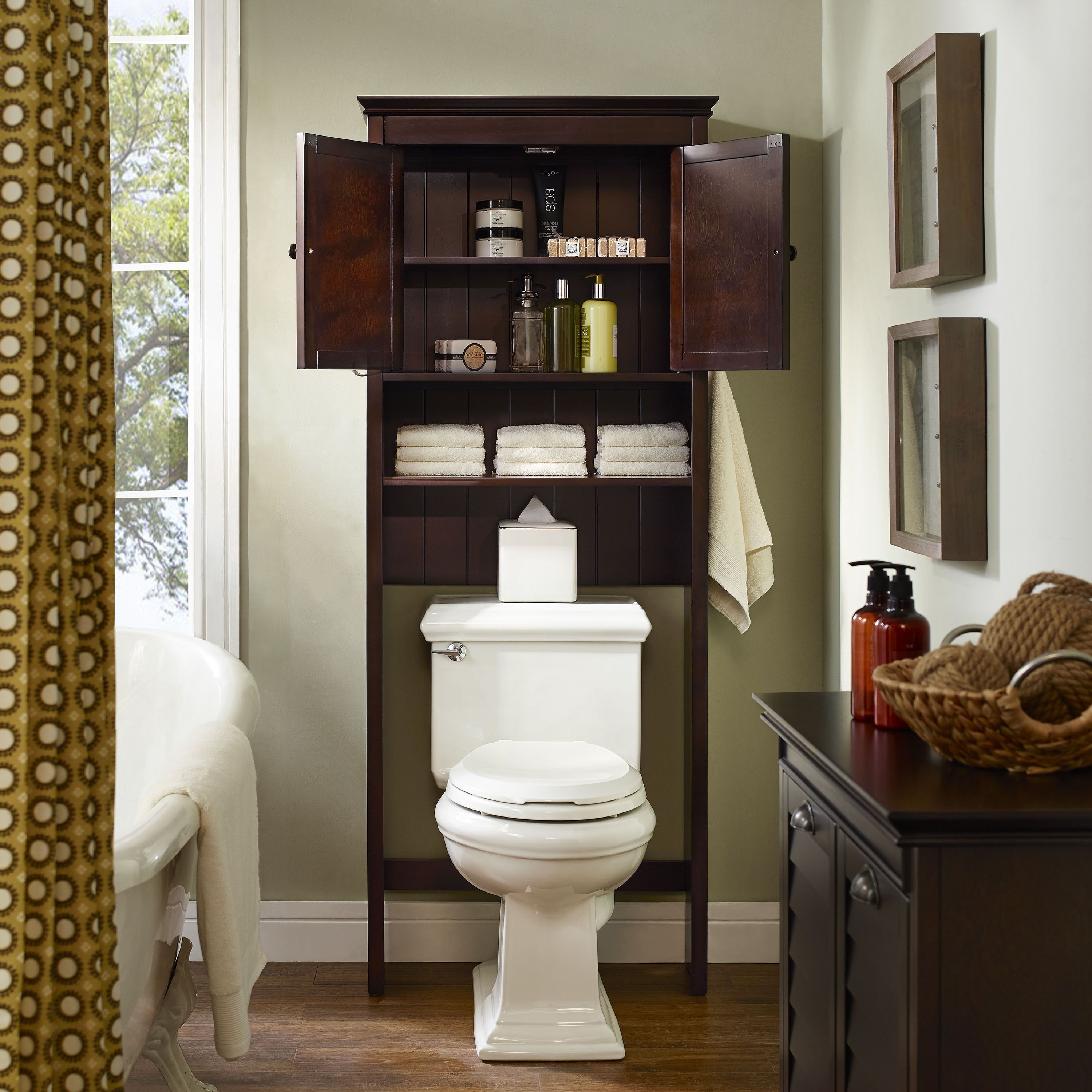 Lydia Wood Space Saver Cabinet In Espresso Bathroom Space Saver Brown Bathroom Decor Bathroom Red