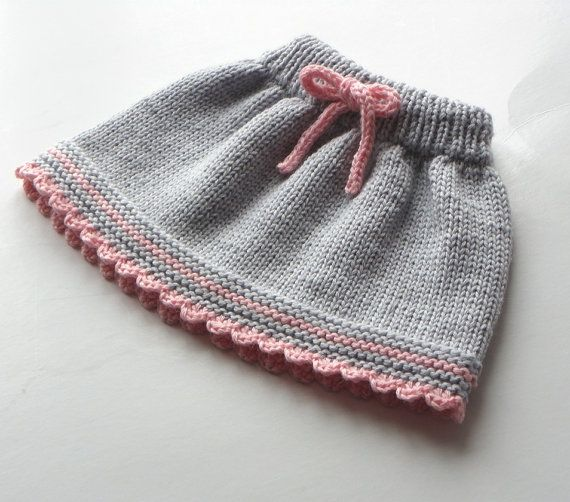 Baby skirt knitted baby skirt merino wool skirt grey and pink skirt MADE TO ORDER #autumnseason