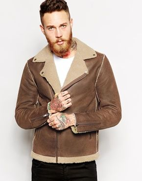 ASOS Biker Jacket In Faux Shearling   Coats, Pants & Other ...