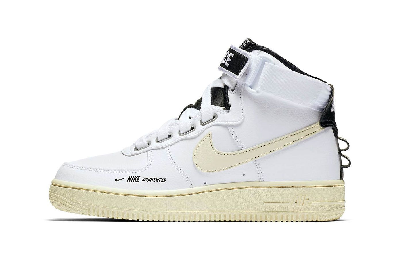 on sale 9d23d 39fbf Nike Air Force 1 Utility High Release Information logo sneaker branding  black white pink colorways date info