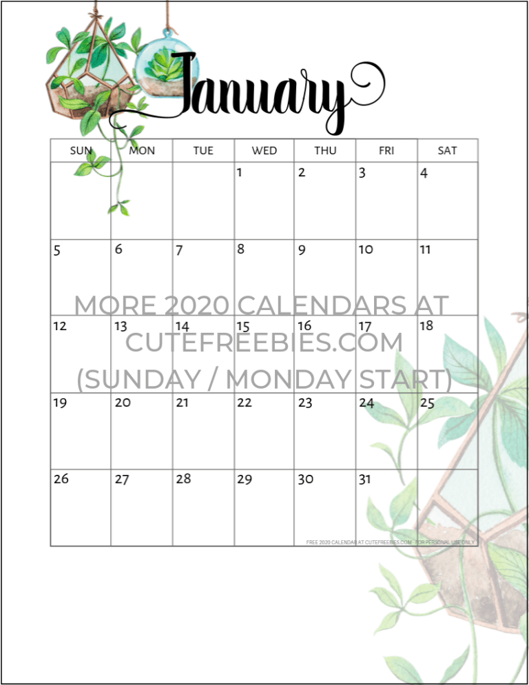 2020 2021 Calendar Free Printable Plants Theme Cute Freebies For You Free Printable Monthly Planner Monthly Calendar Printable Calendar Printables