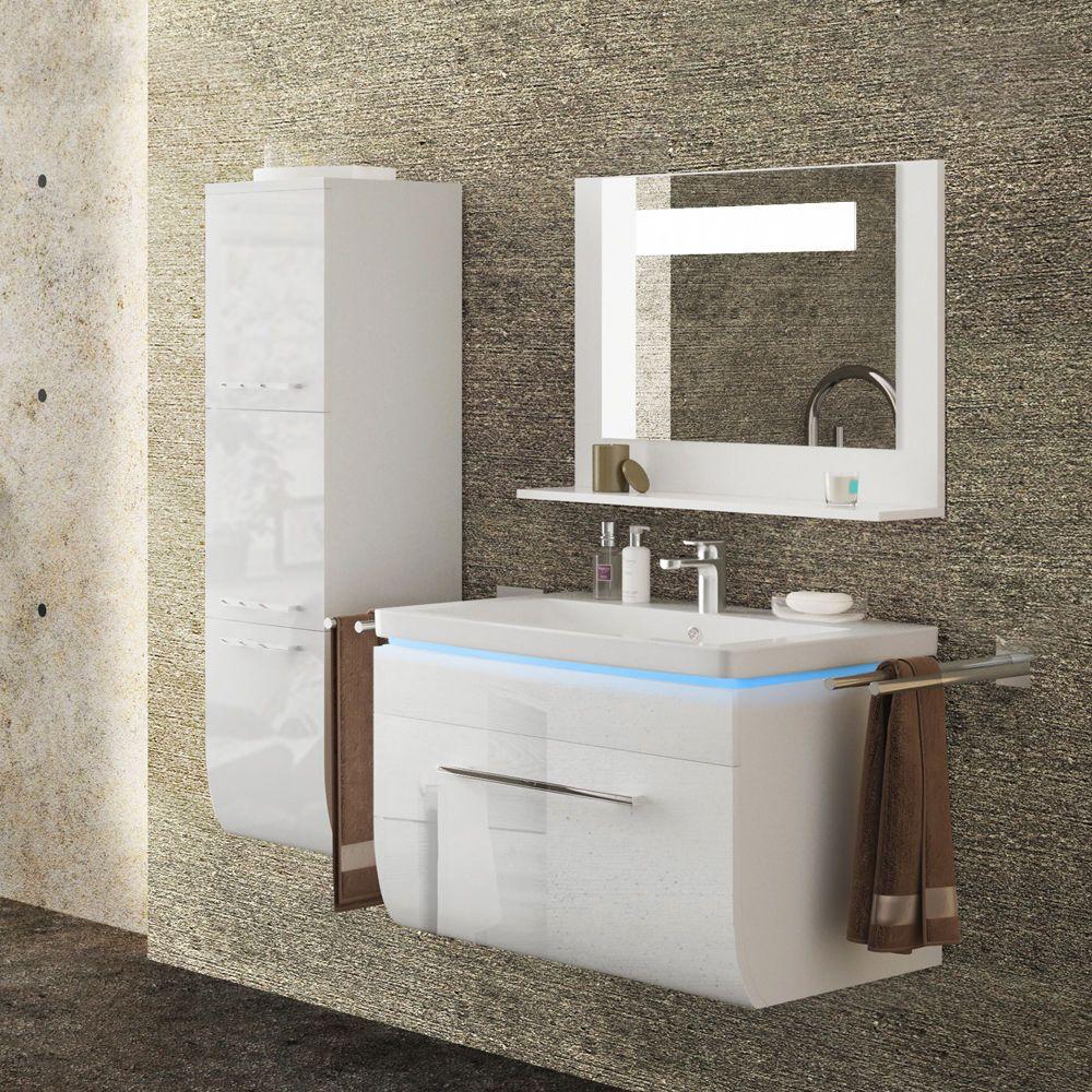 Badmobel Set Weiss Hochglanz Badezimmer Waschbecken Spiegel Led