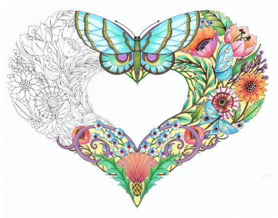 Open Hearts - Coloring Pages for adults - Set of 10 by artist Cynthia Emerlye