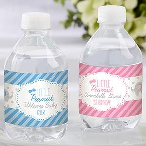 Charming Personalized Little Peanut Elephant Water Bottle Labels | Corner Stork Baby  Gifts