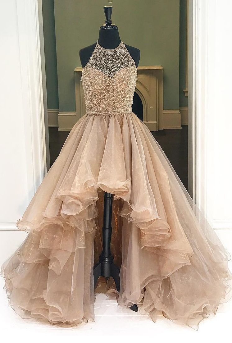 Prom Dress,Champagne High-Low Prom Dress Featuring Halter Neck ...
