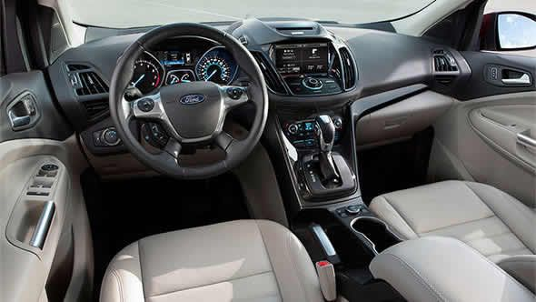 The Escape Titanium Interior In Medium Light Stone With Leather Trimmed Seats Available Audio System From Sony And Availabl 2016 Ford Escape Ford Escape Ford