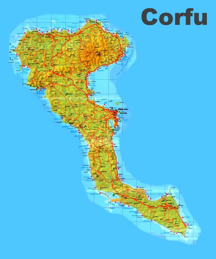 Corfu sightseeing map Maps Pinterest Corfu and Greece islands