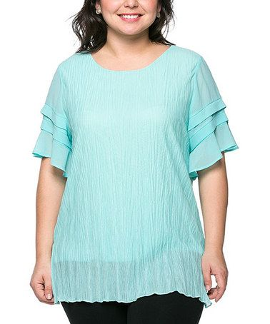 Look at this #zulilyfind! Light Blue Tier-Sleeve Top - Plus #zulilyfinds