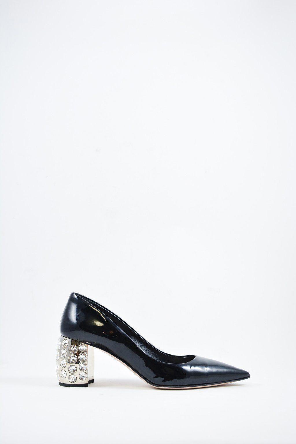 019c76851f4d Miu Miu Black Patent w  Crystal Heels Sz 34.5  MineAndYours  MiuMiu ...