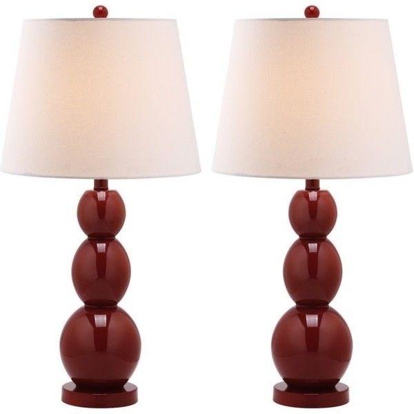 Safavieh Jayne Three Sphere Glass Lamp Set Of 2 10 900 Rub Liked On Polyvore Featuring Home Lighting Table Lamps Red Fra Red Table Lamp Lamp Sets Lamp
