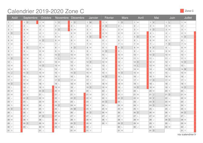 Calendrier Zone C 2021 Vacances scolaires 2019 2020 Zone C   Calendrier et dates