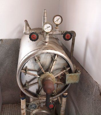 An old thermal pressure sterilizer used for medical instruments