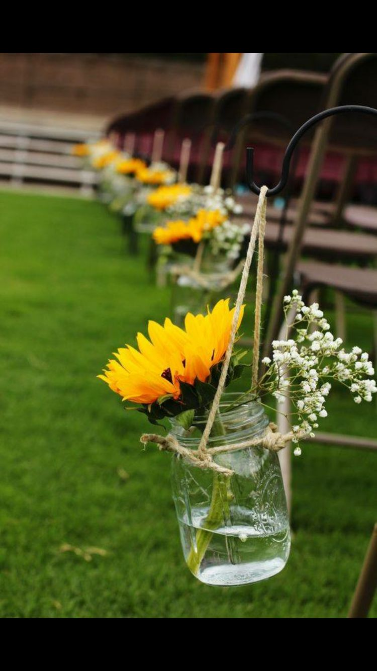 Beautiful and easy sunflower and mason jar wedding ideas yellow