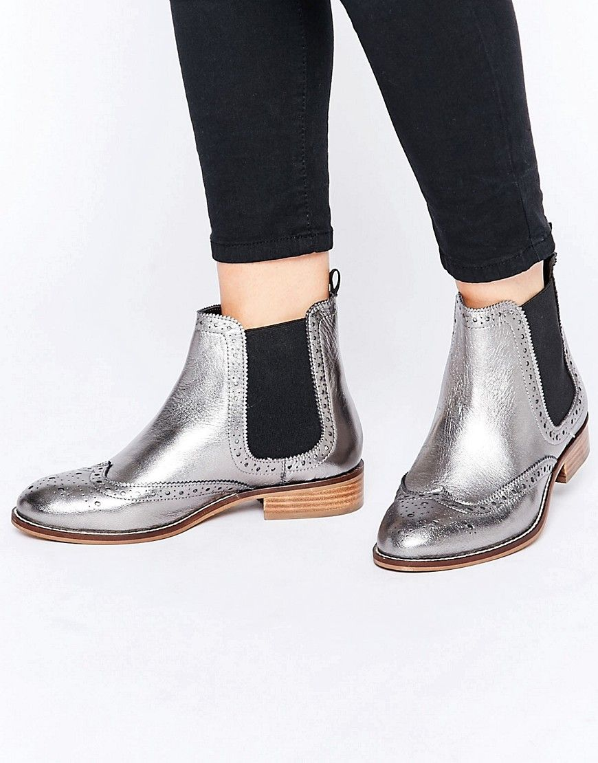 Image 1 ofDune Wide Fit Quenton Pewter Leather Brogue Chelsea Boots