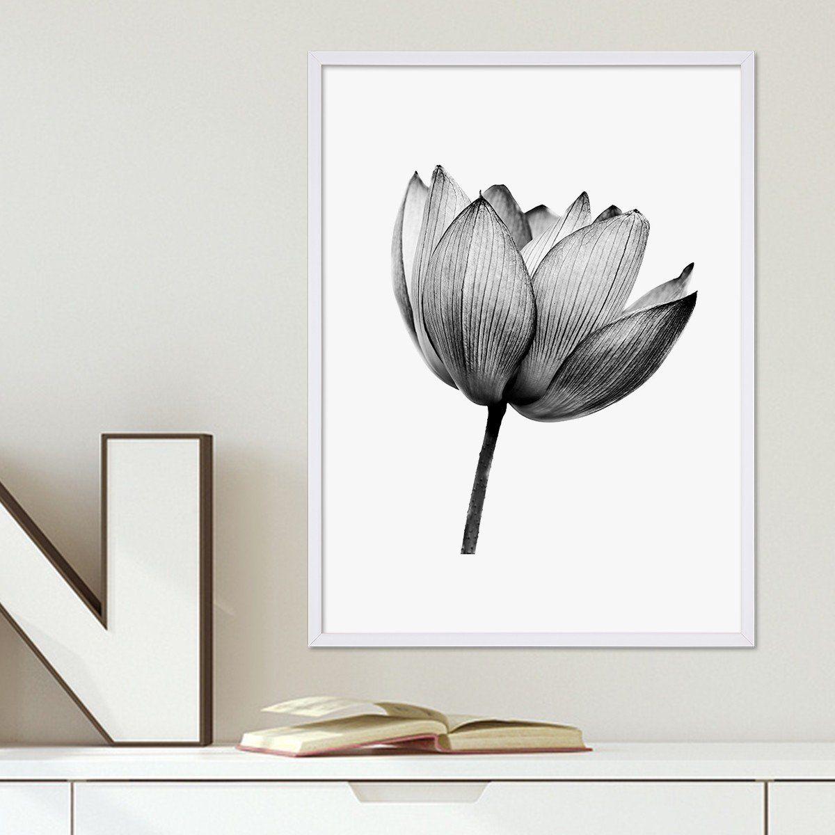Bilderrahmen Küche | Design Poster Mit Bilderrahmen Weiss Lotus 30x40 Cm Schwarz