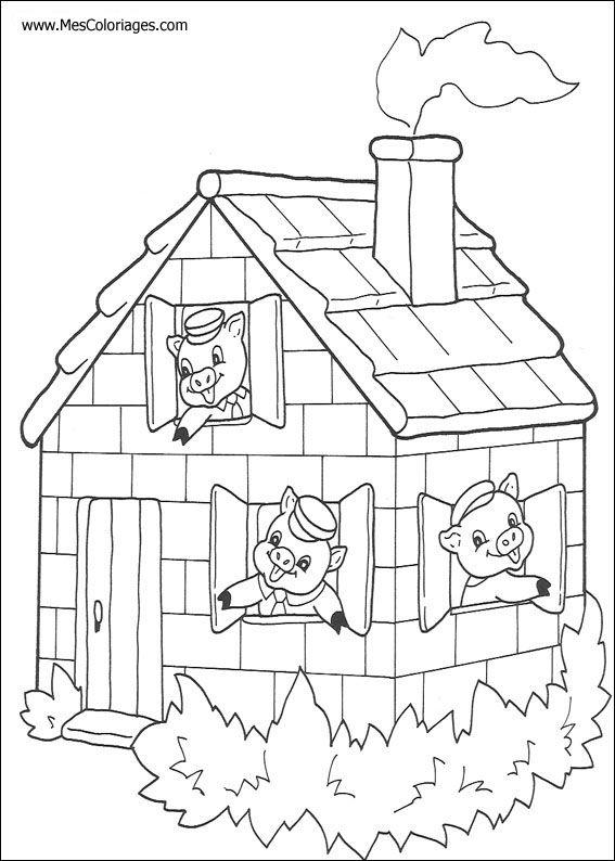 Coloriage Maison Cochon.Activites Coloriage Les 3 Petits Cochons Activitez Vous