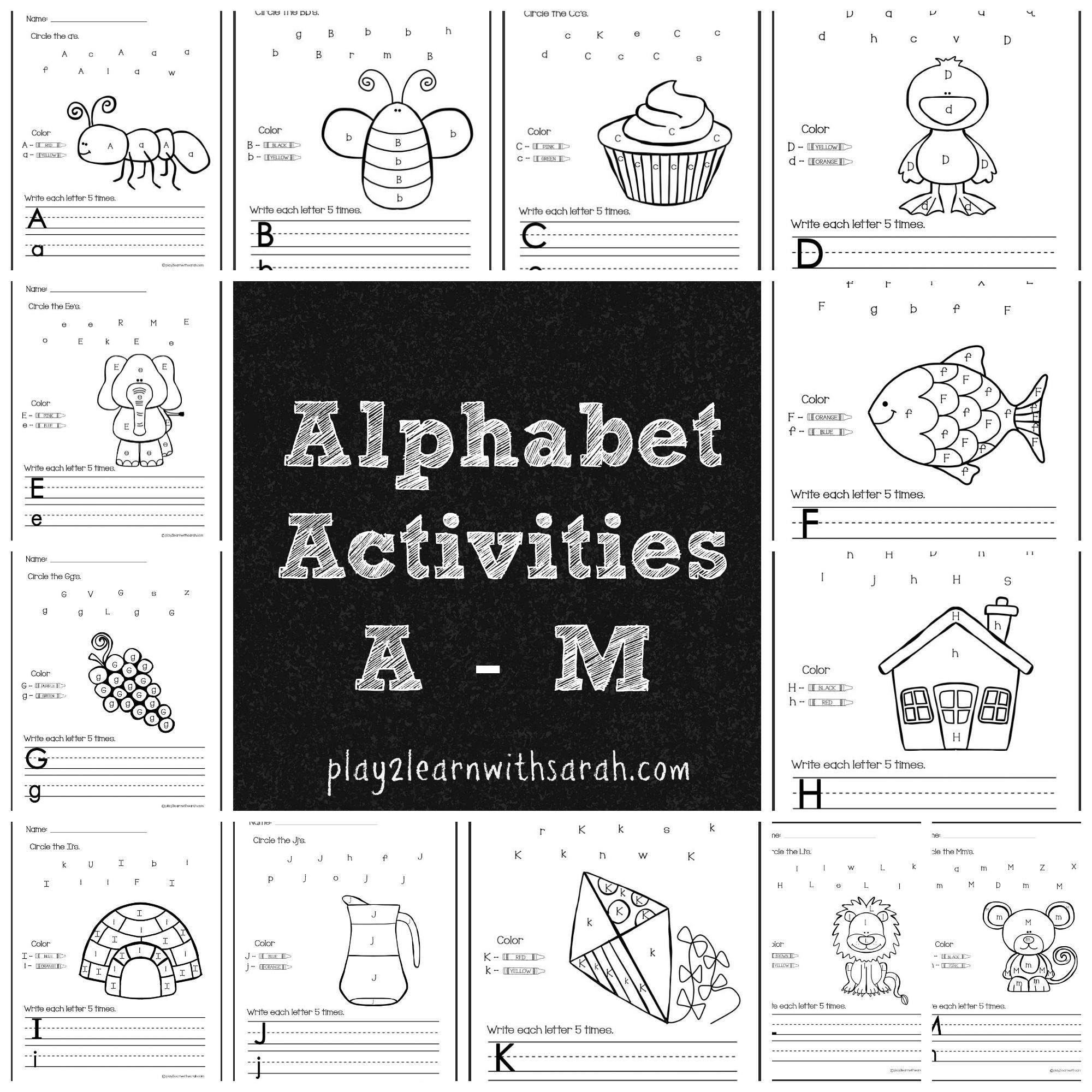 Alphabet Activities Free Printables For A M