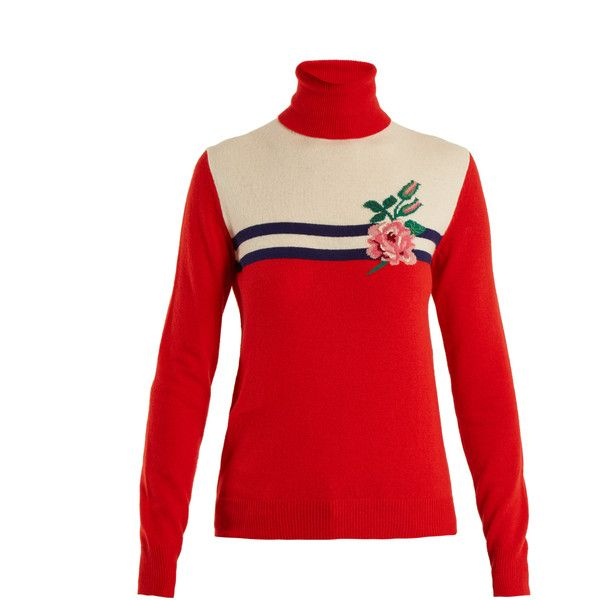 2cb7d5783 Gucci Rose-intarsia wool-blend knit sweater (1,530 CAD) ❤ liked on ...