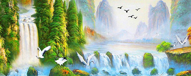 Taobao Station Landscape Waterfall Landscape Background Waterfall Landscape Landscape Background Waterfall