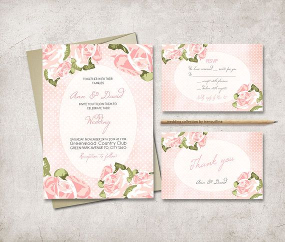 Shabby Chic Wedding Invitation Suite Diy Printable By Tranquillina