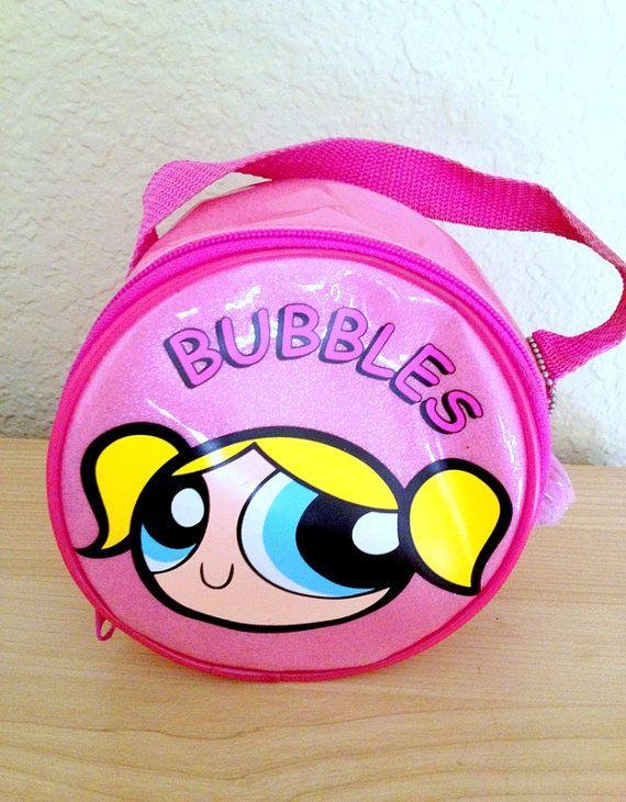 1b76e38a5baeb Rare 90s Powerpuff Girls Bubbles Pink Glitter Purse Bag With Pompom Keychain