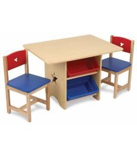 Table Et 2 Chaises Pour Enfants En Bois Avec Rangements Table Enfant Table Et Chaise Enfant Table Pour Enfants En Bois