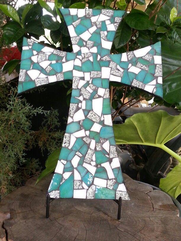 Mosaic Cross Caribbean blue, white & silver mirrored glass. Handmade